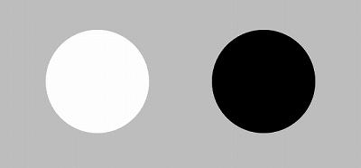 膨張色(白)と収縮色(黒)