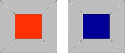 進出色(明るい赤)と後退色(濃い青)