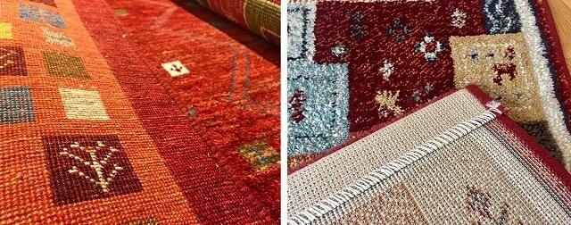 手織り絨毯とウィルトン織りのラグの裏面の違い